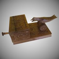 Carved Wood Mechanical Bird Cigarette Dispenser - b240