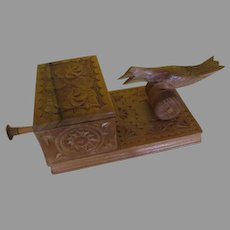 Carved Wood Mechanical Bird Cigarette Dispenser - b240