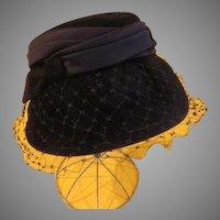 """""""Peachbloom"""" Black Velvet with Veil Hat"""
