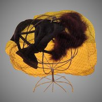 Fur Trimmed Hat with Bow and Veil