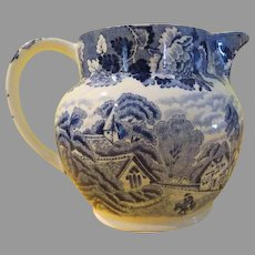 Wood and Sons English Scenery Blue Pitcher - b214
