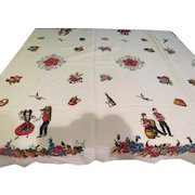 Bountiful Fruit and Old World Couple Tablecloth - LC