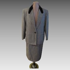 Velvet Collar Hound's Tooth Black and White Check Suit