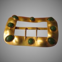 Bezel Set Green Stone Belt Buckle - Free shipping
