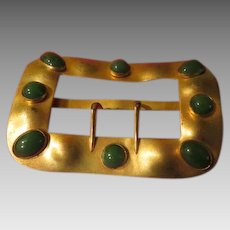 Bezel Set Green Stone Belt Buckle - Free shipping