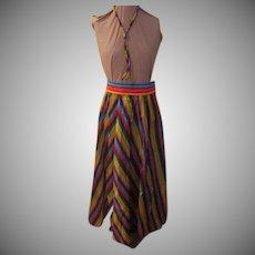 Taffeta Striped Multi-color Skirt with Bolo Tie
