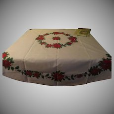 Gold Touched Poinsettia Round Chrismas Tablecloth - CL2