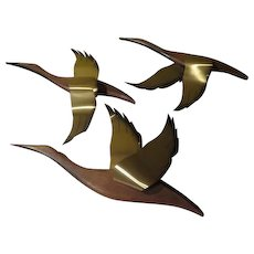 Mid-century Gaggle of Geese Wood and Brass Wall Plaques - b