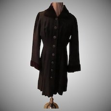 Button Front Coat Dress with Faux Lamb Collar