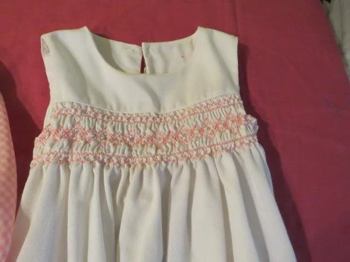 fdf6712431da White Smocked Polly flinders Pinafore Over Pink/white Gingham Dress size 6x