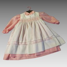 White Smocked Polly flinders Pinafore Over Pink/white Gingham Dress size 6x