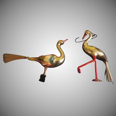 Majestic Bird And spindle leg Stork Spun Glass Tail Christmas tree Ornaments - bb