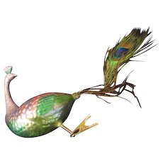 Proud Peacock Christmas tree Ornament with Feather Tail - bb