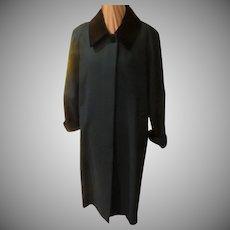 Black Velvet Collar Green Coat