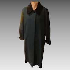 Black Velvet Collar Green Coat