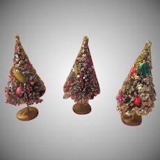 Glittered Bottle Brush Trees with Fruit - X-17