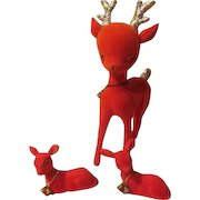 Red Flocked Reindeer with Babies Christmas Figures - X-17