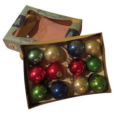 A Dozen Feather Tree Glass Ornaments in Box - X-17-l