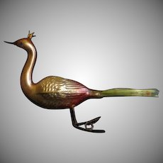 Gold Body Peacock with Spun Glass Tail Christmas Tree Ornament - BB