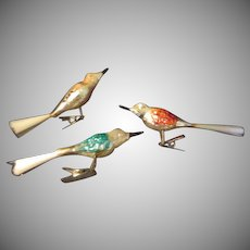 Red, Black and Blue Wing Birds with Spun Glass Tail Christmas Tree Ornaments - BB