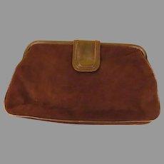 Barbara Bolan Brown Suede Clutch Handbag/purse - b222