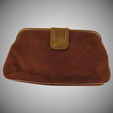 Barbara Bolan Brown Suede Clutch Handbag/purse - b222
