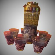 Wedgwood   Lion Hunters Cocktail Shaker and Glasses - g