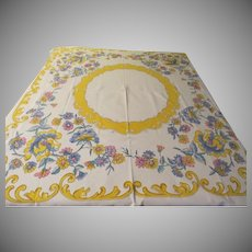 Pink, Blue and Yellow Print Tablecloth - b229