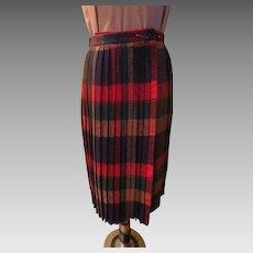 Winter Wool Plaid Pleated Wrap Skirt
