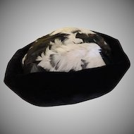 Head-hugging Black Velvet with Feathers Hat