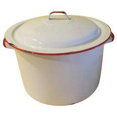 Mmmm, Mmmm Good White Enamel Soup Pot with Lid - g