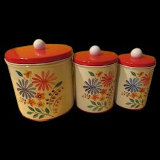 Flowers and Berries Color Ware Red Lid Tin Canister Set - g