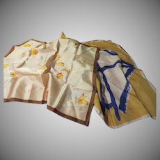 Gold and Navy Vera and Golden Butterfly Scarf - b223
