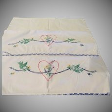 Birds and Flowers in Heart Embroidered Pillow Cases - b245