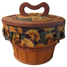 Apple Bushel Sewing Basket with Sunflower Fabric