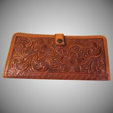 Sunflower Tooled Leather Wallet - b228