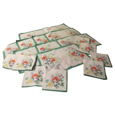 Colorful Flower Bouquet 17 piece Runner, Placemat and Napkin Set - b222