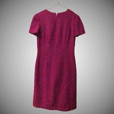 Raspberry Textured Tweed Skimmer Dress