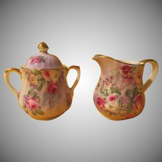 Crown Victoria Straffordshire English Roses Creamer and Sugar - b227