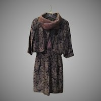 Brown Brocade Mink Collar Jacket and Dress