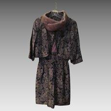 Brown Brocade Mink Collar Jacket and Dress