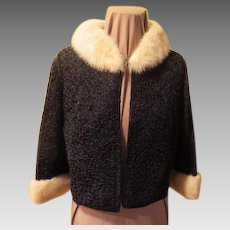 Regalia Ribbon Knit Jacket with Fur Collar and Cuffs