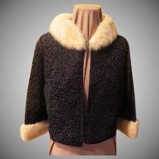 Regalia Ribbon Knit Jacket with Fur Collar and Cuffs