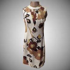 Keyhole Brown Print Skimmer Dress