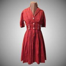 """Button Front ''Candy Jones"""" Red Plaid Shirtwaist"""