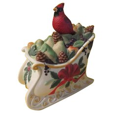 Lenox Winter Greetings Cardinal on Sled Cookie Jar