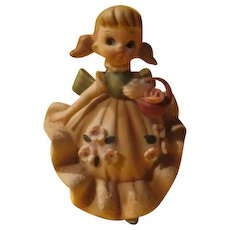 Lefton Girl with Basket Figure - b227