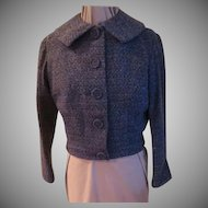 Blue Tweed o The Waist Jacket