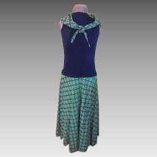 Concentric Circles Green and Navy Dress
