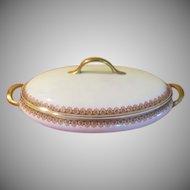 Union Ceramique Limoges France M.F. & Co. Oval Covered Casserole - LBB